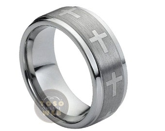 unique tungsten cross ring related items etsy