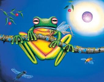 Lithograph Print, color prints, art print, fine art, green frog, Australian painting, original paintings, archival paper, acid free