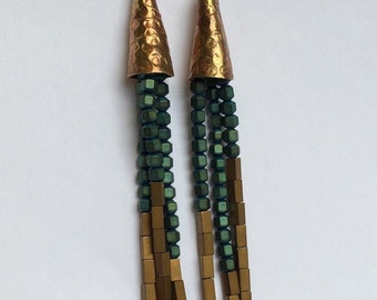 Dangles green & gold