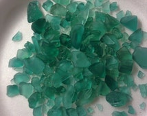 1 pound of Tumbled Glass Rocks Turquoise and frosted clear Glass/Blue Glass Chips/Mosaic Supply/Vase Filler/Glass Art Supply