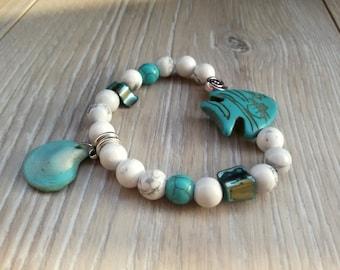 Howlite woman bracelet Summer beach bracelet Fish jewelry Bohо beach jewelry Howlite Turquoise bracelet natural stones summer gift for Mom