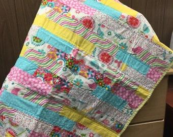 Baby quilt / toddler quilt / homemade quilt / modren quilt / tummy time /baby girl blanket / baby girl quilt / crib blanket