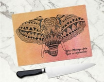 Personalised Tempered Glass Cheese/Chopping board -  Zentangle Elephant