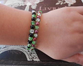 red pearl bracelet, elastic pearl bracelet, crystal bracelet