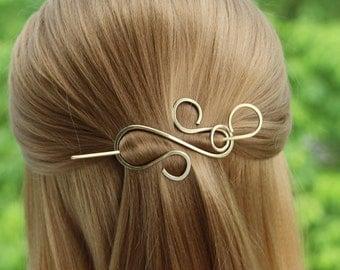 Brass Hair Clip, Gold Hair Slide Hair Stick, Hammered Hair Barrette Hair Pin, Hair Jewelry Hair Accessories Scarf Pin Shawl Pin Gift for Her
