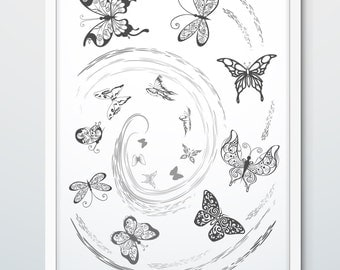 The flying butterflies, butterflies digital print, butterflies art works, wall art, summer, gray print, black and white print, wall decor