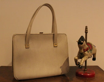 Vintage Cream Leather Handbag 50's