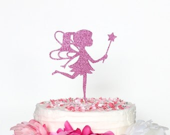 Glittery Fairy Cake Topper - Fairy Princess Cake Topper, Fairy Birthday Party Decor, Fairy Theme, Fairy with Wand, Cute Party Supplies
