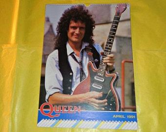 Queen 1991 Calendar Music Memorabilia Collectable Vintage Freddie Mercury Brian May Roger Taylor John Deacon Rock Band Group British