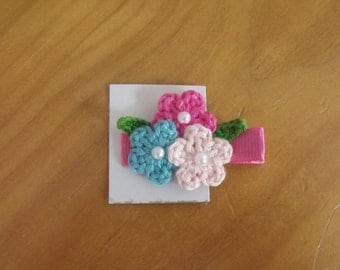 Handmade Boutique Double Prong Lined Alligator Hair Clip - Crochet Flowers - Pink, Blue, Hot Pink w/hot pink solid ribbon