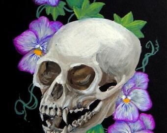 Vervet Monkey Skull Original Gouache Painting