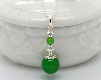 Green Agate,Green Jade,925 Sterling Silver Pendant P103