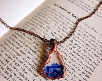 Devon blue and white sea pottery necklace, sea pottery jewellery, ceramic beach pottery, copper wire wrap jewelry