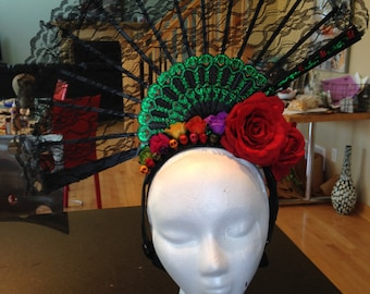 OOAK Day of the Dead inspired headpiece