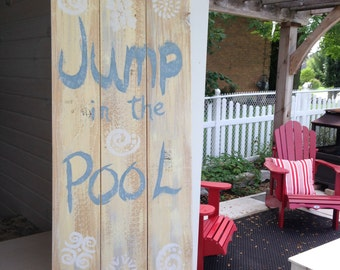 Wood sign for your pool