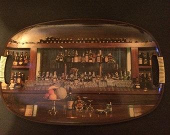 Vintage Retro Bar Scene Serving Tray