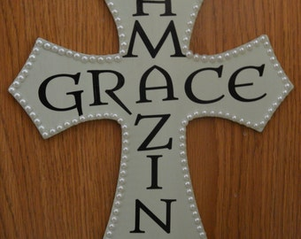 Sage Green and Pearl Amazing Grace Cross