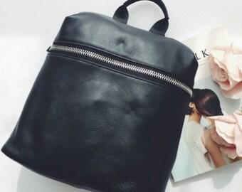 black leather 'zip forehead' backpack