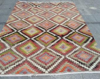 Pastel handwoven kilim rug, vintage kilim 9x6 ft