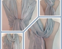 Pashmina Pastel Blue Silver Wrap Shawl Scarf Brides Bridesmaids Weddings Races Gift Idea