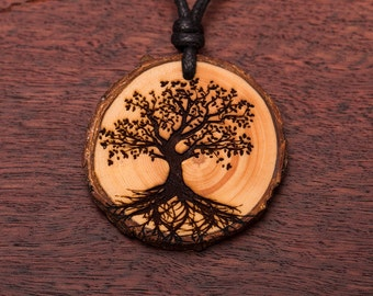 Tree of life, wood necklace, 3-6 cm, unique