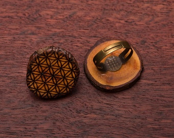Flower of life, wooden ring, up to 3cm, unique