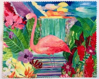 Microfibre lens/screen cloth based on original 'Flamingo' paintings