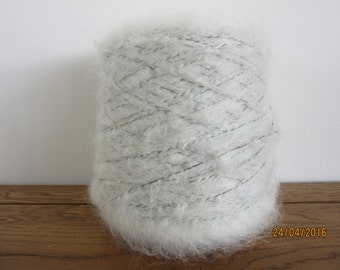 Ecru With Black Binder Mohair Yarn Mohair/Polyester 90/10 500g Cone