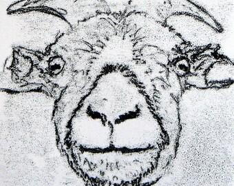 Goat!! - Original acrylic monoprint on paper