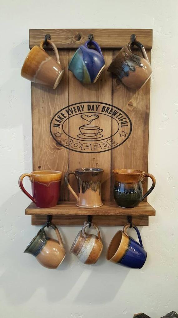 Coffee mug rack wall mounted mug rack coffee home decor for Coffee mug display rack