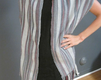Grey Shimmer Woven Shawl