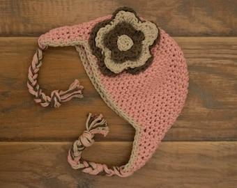 0-6 Months Crochet Winter Braid Flower Hat