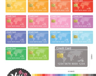 30 Colors Credit Card Clipart - Instant Download