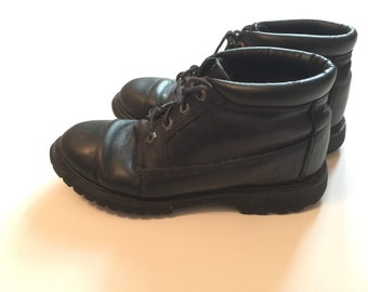 Black Leather Timberland Ankle Boots Women Size 8