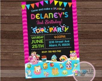 Shopkins Pool Party Invitation, Shopkins Birthday Invitation, Shopkins Birthday Party Invitation, Pool Party Invitation, Digital File.