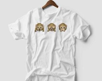 TSHIRT Fashion Monkey Emoji T-Shirt Top See No Evil, Hear No Evil, Speak No Evil