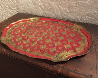 Hand Made - Carved and Painted - Florentine Gilded WoodenTray, Made in Florence Italy