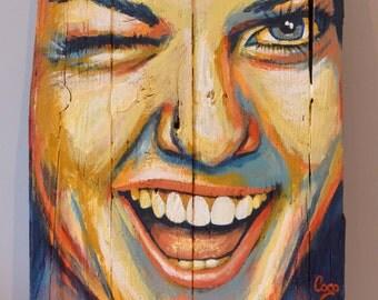 "Painting on wood  ""Clin d'œil"""