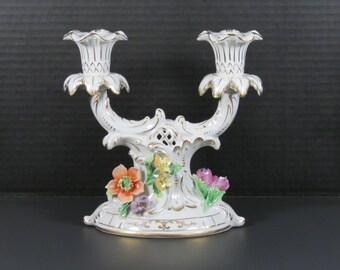 Pair of Sachsische Porzellan-Manufaktur Dresden Porcelain Candelabras by Carl-Thieme