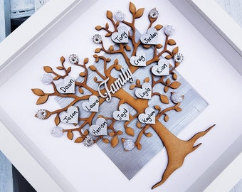 Family tree | Family picture frame | home decor family decor | wall hanging | personalised hearts | wedding gift | Mum gift | Grandparents
