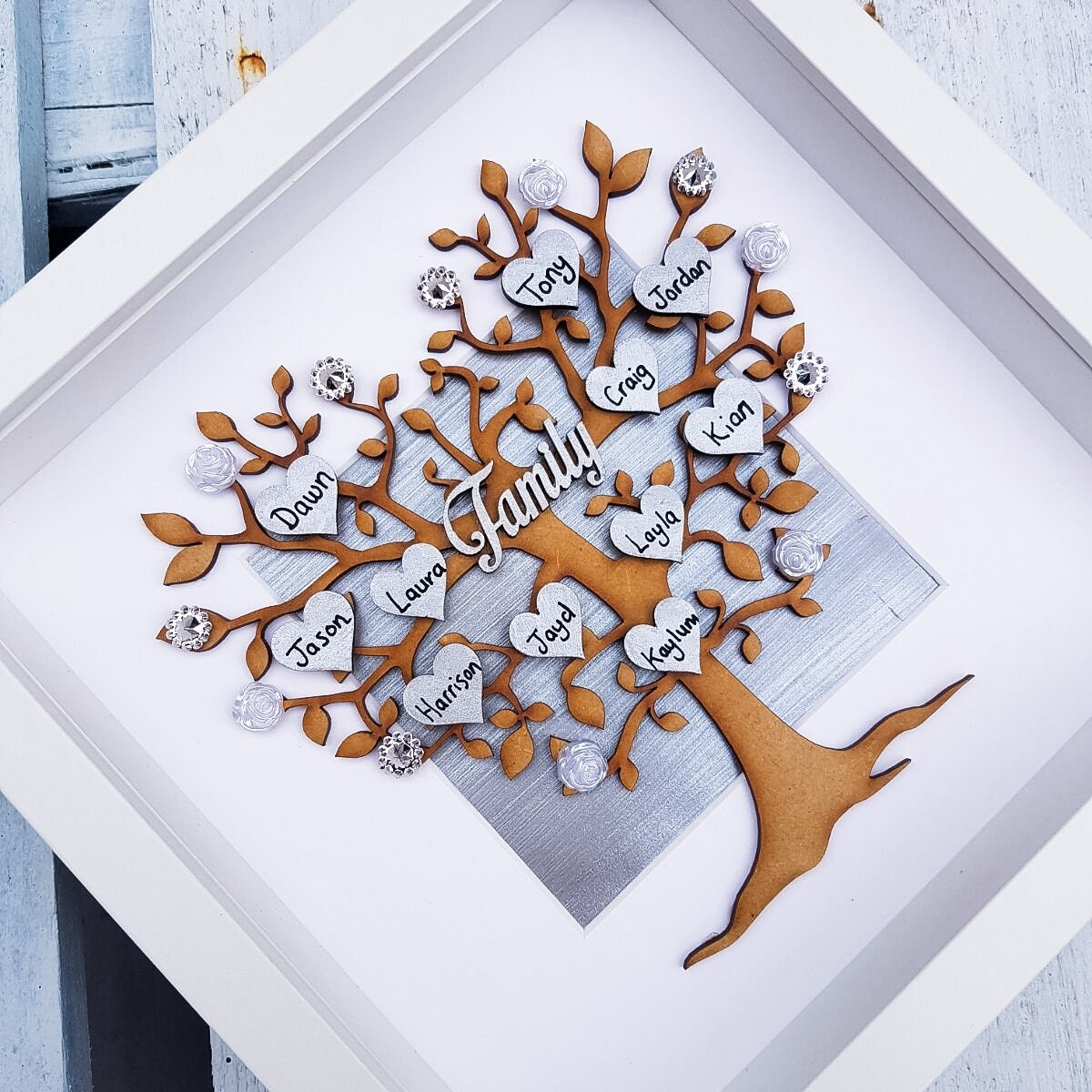 Family Tree Frame Family Picture Gift Grey Home Decor