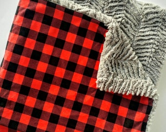 Red and Black Buffalo Check Baby Blanket, Minky Baby Blanket, Faux Fur Baby Blanket, Boy Blanket, Girl Blanket, Woodland Baby Blanket