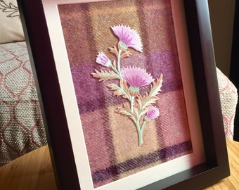 Handcrafted Scottish tartan frame with embroidered thistle
