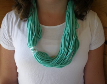 Aqua loop scarf with flower