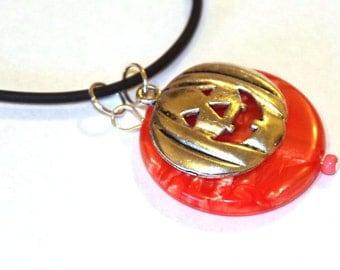 Pumpkin necklace - Halloween jewelry - orange bead charm - silver pumpkin - black cord necklace