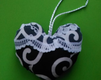 Heart on Blue Navy white patterned
