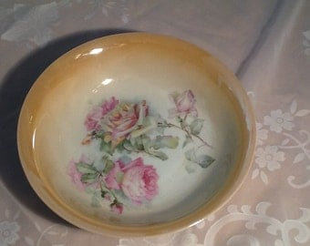 Vintage Czechoslovakian Lustreware Bowl with Roses
