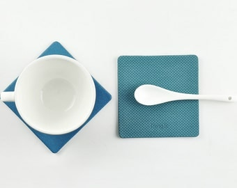 Coaster with Pattern, 9 Colors Available, Water Resistant, Blue and Green Series, Drinkware Organization