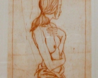 Erotic lithograph Franco Aguggiaro artists proof print nude listed Italian artist framed sensual art Nude art for sale FREIGHT EXTRA
