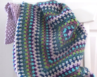 Handmade Crochet Blanket - Granny Square - Lilac - 100cm square